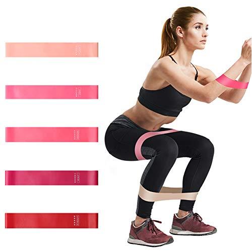 AUTUWT Fitnessbänder Set - 5 Premium Widerstandsbänder,Frauen Rosa Farbverlauf Latex Bänder für Yoga, Pilates, Rehabilitatio,Resistance Band, Fitnessband, Gymnastikband & Übung Fitness Booty Bands