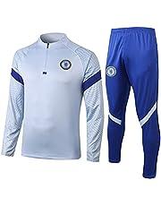 チェルシーフットボールトレーニングスーツ、イングランド20-21メンズサッカー長袖ジャージートラックスーツ、ジョギングランニングトップとパンツ