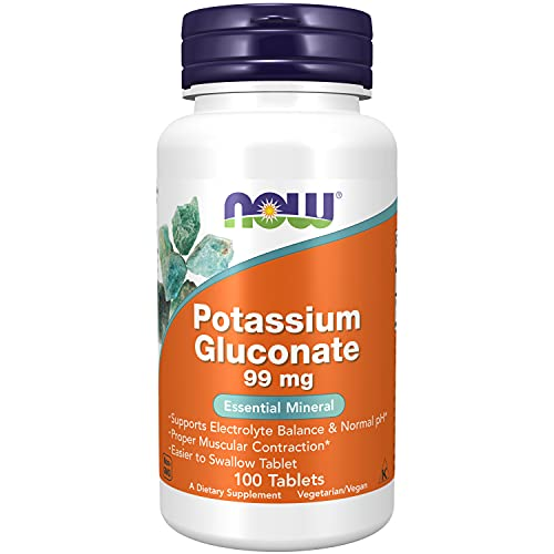 NOW Supplements, Potassium Gluconate 99mg, Easier to Swallow, Essential Mineral*, 100 Tablets