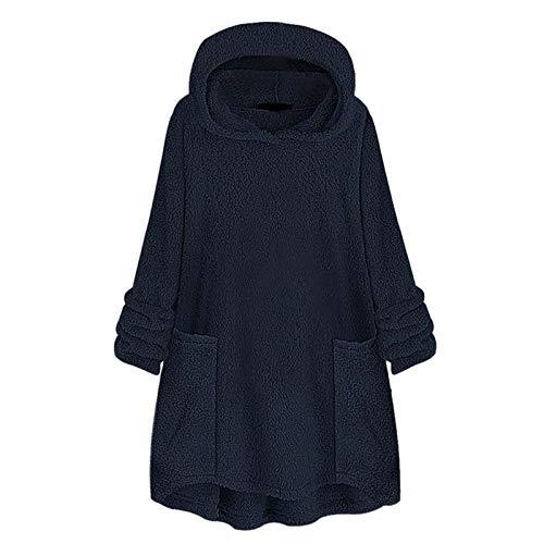 jhgfd Sudadera con capucha para mujer, con forro largo, para otoño e invierno marine L