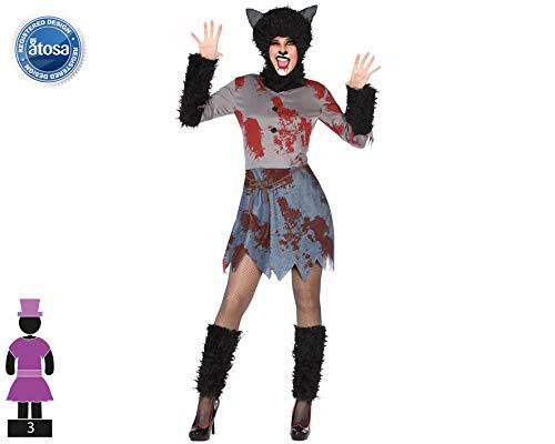 Atosa-54836 Atosa-54836-Disfraz Loba Sangriento para mujer adulto-talla M-L negro, color (54836)