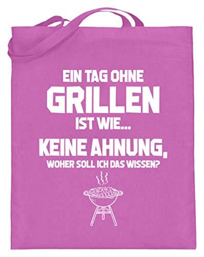 shirt-o-magic BBQ: Tag ohne Grillen? Unmöglich! - Jutebeutel (mit langen Henkeln) -38cm-42cm-Pink