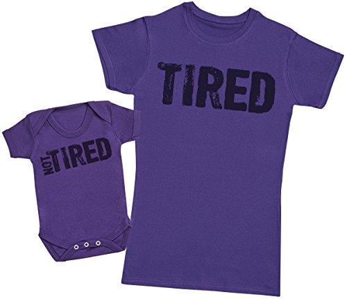 Zarlivia Clothing Tired & Not Tired - Passende Mutter Baby Geschenk Set - Damen T-Shirt & Baby Strampler - Violett - XL & 62/68 (3-6 Monate)