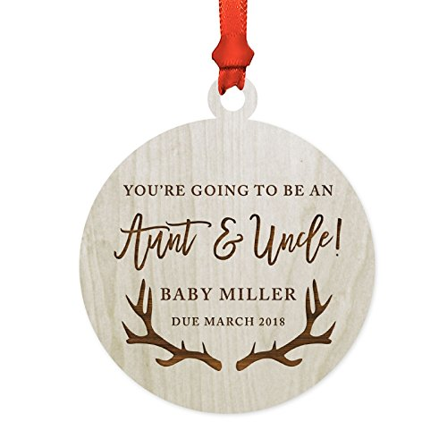 Andaz Press Personalized Pregnancy Announcement Laser Engraved Wood Christmas Ornament, You're Going to be an Aunt and Uncle! Baby Due 2020, Deer Antlers, 1-Pack, Includes Ribbon and Gift Bag