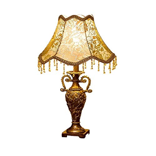 SPNEC Lámpara de Mesa, Estilo Europeo Lámpara de cabecera Princesa Pastoral Creativa Boda Decoración de Restaurante de Lujo Lámpara de Mesa Resina (patrón)