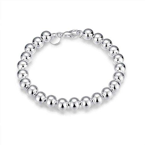 U/K 1 x Frauen Armband Schmuck Einstellbare Silber Perlen Armband Anhänger Kette Dame Armband Liebesgeschenk Stilvoll und Beliebtlanglebig