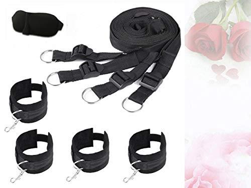 TM-mall Cinturón de Yoga para Mujer de Nylon + Máscara de Ojo para Dormir (Regalo) (Negro)
