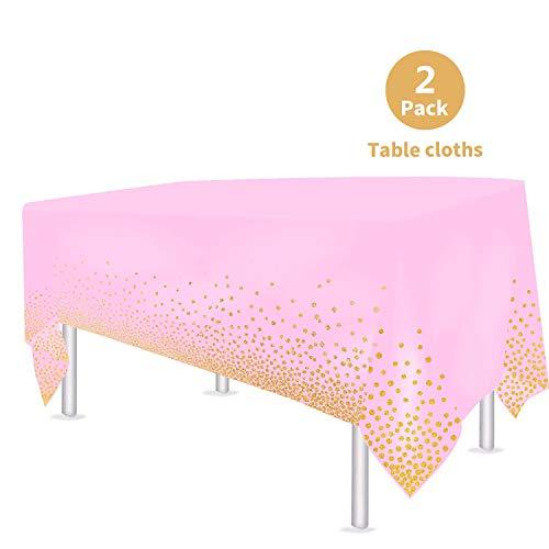 VAINECHAY 2pcs Plastik Party Tischdecken Tischdeko Geburtstag Rose Partytischdecke Hochzeit Weihnachten Ostern Weihnachten Braut Shower Indoor Outdoor, 108*54in (137*274CM)