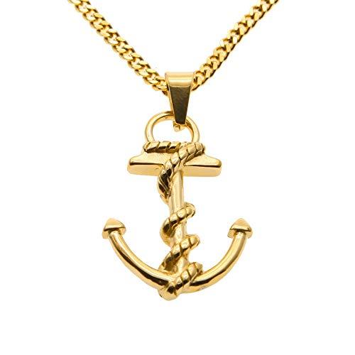GYXYZB Roestvrij Staal Anker Hanger Ketting Met 24 Inch Ketting Goud Kleur Kleine Schip Anker Wrap Nautical Charm