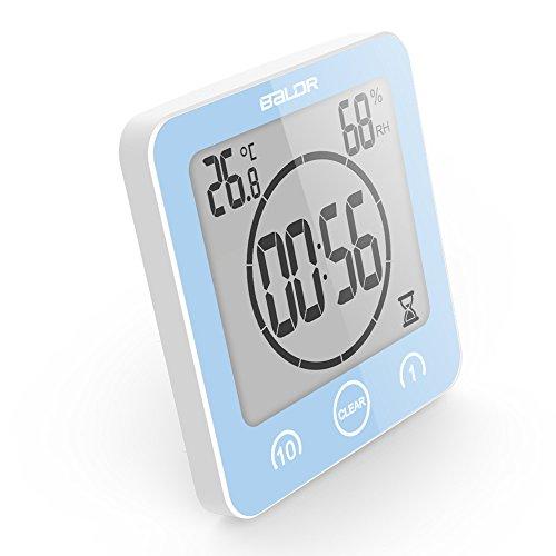 VORRINC Digitale Baduhr, Badezimmer Uhr mit Saugnapf LCD Display, Shower Clock Dusche Uhr Wasserdicht, Berührungssteuerung ℃ / ℉ Temperatur Luftfeuchtigkeit, Countdown Timer, Timer Küche (Blue)