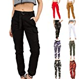 Women's High Waist Slim Fit Jogger Cargo Camouflage Calf Pants with Matching Belt