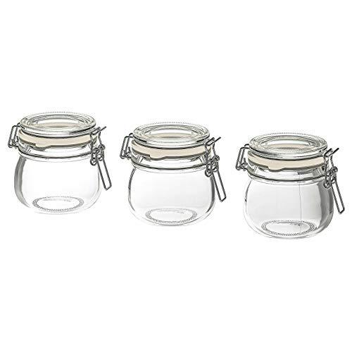 Ikea Korken - Tarros con tapa, cristal transparente, 13 cl, paquete de 3 en 1