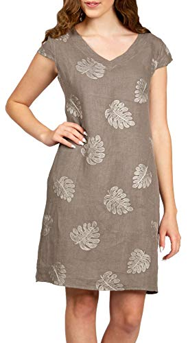 Caspar SKL030 knielanges Damen Sommer Leinenkleid mit Palmblatt Stickmuster, Farbe:Taupe, Größe:L - DE40 UK12 IT44 ES42 US10