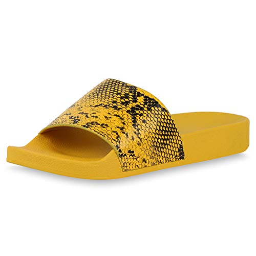 SCARPE VITA Damen Sandalen Pantoletten Hausschuhe Schlangenmuster Prints Sommer Schuhe Flache Schlupfschuhe 195639 Dunkelgelb Snake 40