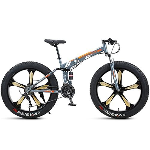 NENGGE Bicicleta de Montaña Plegable 26 Pulgadas, Adulto Hombre Mujeres Bicicleta BTT de Neumático Gordo, Doble Suspensión, Marco de Acero de Alto Carbono,Orange 5 Spoke,21 Speed