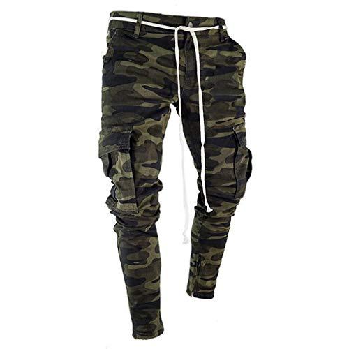 KEERADS Hommes Maigre Étendue Pantalons en Denim Plissé Déchiré Freyed Coupe Slim Pantalons Jeans(FR-38/CN-S,Camouflage )