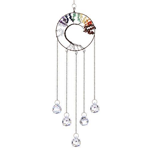 H&D HYALINE & DORA Kristall Regenbogen Sonnenfänger, Glasbaum des Lebens Anhänger, hängende Fenster Ornament(klar)
