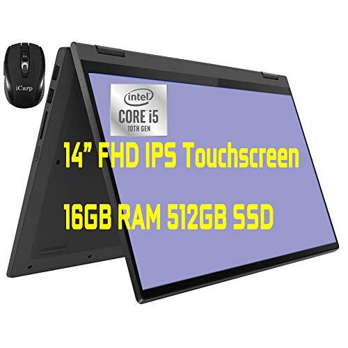 "2021 Flagship Lenovo IdeaPad Flex 5 Business 2 in 1 Laptop 14"" FHD IPS Touchscreen 10th Gen Intel i5-1035G1(>i7-8665U) 16GB RAM 512GB SSD Backlit Fingerprint USB-C HDMI Win10 + iCarp Wireless Mouse"