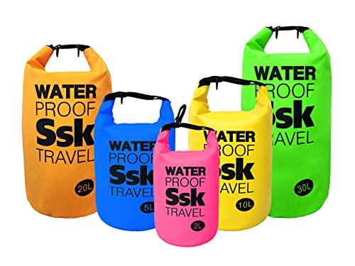 Bolsa/Mochila estanca Waterproof para almacenar Tus Objetos Resistente al Agua Ideal para Trekking, Pesca, navegación, Escalada, Surf, pádel Surf, Varios tamaños y Colores (Amarillo, 10 litros)