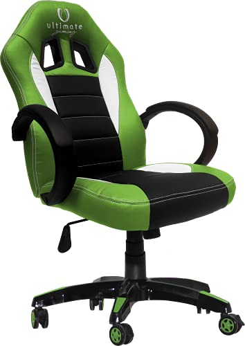 Ultimate Gaming HPAINF0105 Silla Gaming, Madera, Verde, Negro y Blanco, Mediano