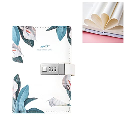 PUYEI Cuaderno de notas creativo, sencillo y fresco con contraseña de mano, cuaderno de notas de piel sintética, portátil, con bloqueo de contraseña.