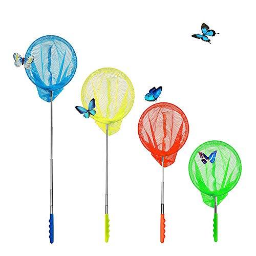 AiYoYo 4 Stück Teleskop Schmetterlingsnetz 38-86cm Insektennetze Kinder Kescher mit Ausziehbarer Griff Ideal Zum den Fang von Insects, Crickets, Butterflies Outdoor Spielzeug beim Garten, Strand