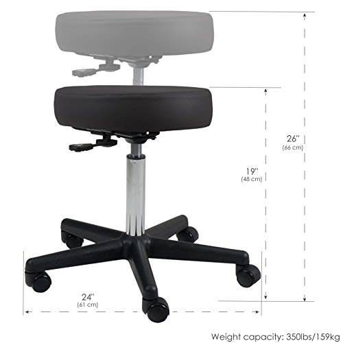 EARTHLITE Pneumatic Rolling Stool - Commercial Grade, Adjustable, CFC-Free, No leaking - Spa, Massage & Medical Chair