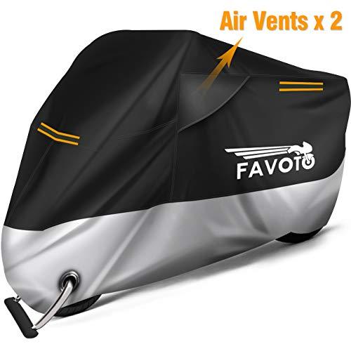 Favoto Funda para Moto Cubierta de Motocicleta 210D Protectora Oxford con Bandas Reflectantes/Salidas de Aire a Prueba de Sol Agua Lluvia Polvo Viento Nieve Excremento de Pájaro XXL 245cm Negro+Plata