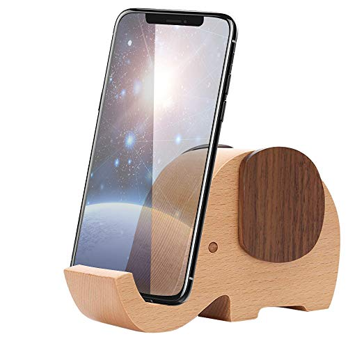 Apor Cell Phone Stand, Wood Made Elephant Phone Stand for Smartphone with Pen Holder Desk Organizer (Small)