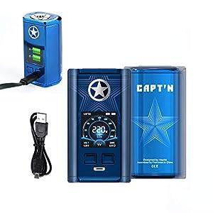 Vaptio 220W MOD de cigarrillo electrónico con pantalla a color Soporte 510 Thread Tank Sin batería No E Liquid Sin nicotina (Azul)