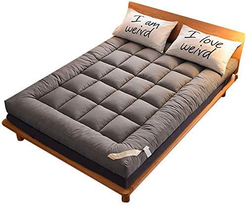 YWYW Matelas futon à Plancher épais surmatelas Qulited Tapis de Sol Tatami Matelas de Camping Portable Coussin de Couchage Pliable Lit Enroulable-Gris 100x200cm (39x79inch)