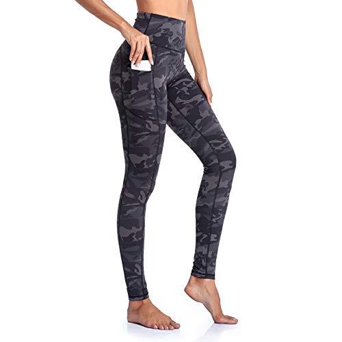 Gimdumasa Pantalón Deportivo de Mujer Cintura Alta Leggings Mallas para Running Training Fitness Estiramiento Yoga y Pilates GI188 (Gris Camuflaje, XS)