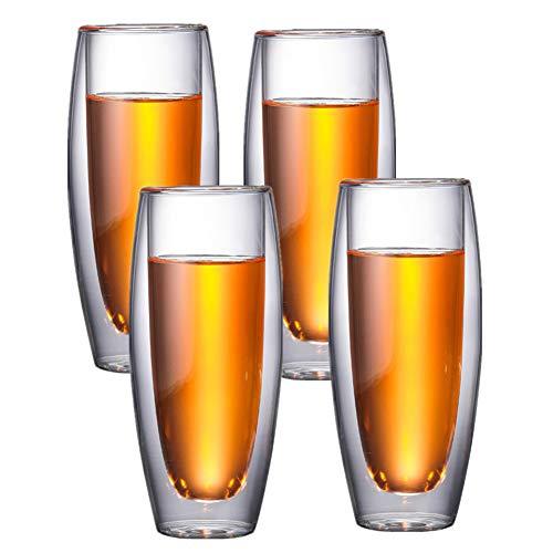 HEELPPO Thermo Kaffeebecher ThermogläSer Cappuccino Tassen Doppelwandige ThermogläSer Cocktail Glas Daily Trink-GläSer Geeignet Zum Trinken Von Tee Saft Milch 4cups,240ml