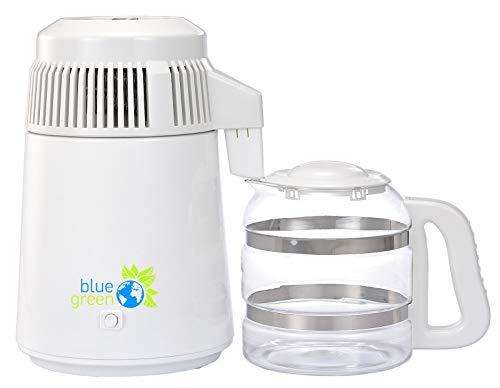 blue green Water Pro, Weiß, Wasserdestilliergerät mit Glaskaraffe, 4 Liter reines destilliertes Wasser, Kein Kontakt mit Kunststoff