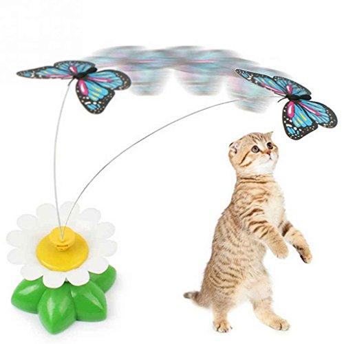Haustier Hund Katze Spielzeug Spielzeug-elektrischen rotierenden Schmetterling Kätzchen Spielzeug Rotierende Schmetterling Spielzeug Katze Kätzchen Spielen Sitz Scratch Teaser Steel Wire