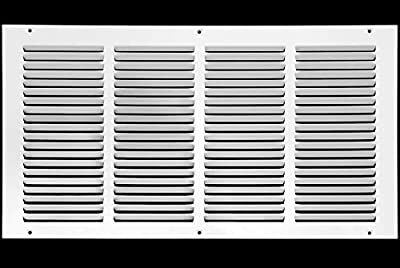 "20""w X 8""h Steel Return Air Grilles - Sidewall and Ceiling - HVAC Duct Cover - White [Outer Dimensions: 21.75""w X 9.75""h]"