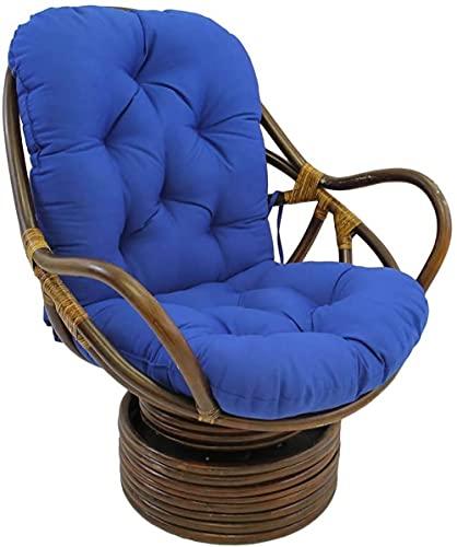 Cojín basculante giratorio de ratán de 48 ', con lazos Cojín para silla mecedora de interior multicolor extraíble lavable para patio trasero (el producto no incluye asientos)-Blue||48x24x5inch