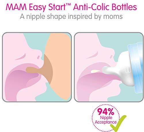 MAM Easy Start Anti-Colic Bottle, 5 oz (1-Count), Newborn Essentials, Slow Flow Bottles with Silicone Nipple, Unisex Baby Bottles