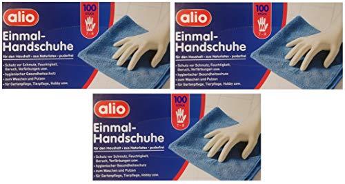 Alio Einmal-Handschuhe Naturlatex Puderfrei Hygienischer Schutz Grösse M 7-8 3erPack(3x100Stk)