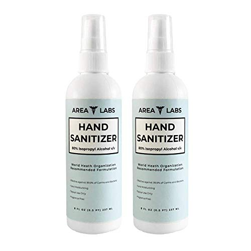 Area Labs Hand Sanitizer Liquid 80% Alcohol in 8 oz Spray...