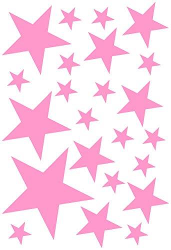 Samunshi® Sterne Aufkleber Set gefüllt 14x2,5cm6x5cm2x7,5cm1x10cm Hellrosa