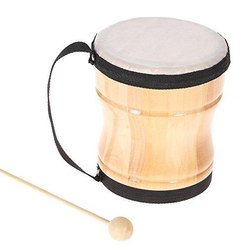 ammoon Kinder-Trommel / Bongo, Holz, Spielzeug / Musikinstrument, mit Stock und Gurt