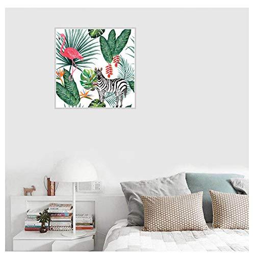 Flamingo Zebra Plant Canvas schilderij Art Poster kinderkamer muur foto Decor-40X40cm geen ingelijst