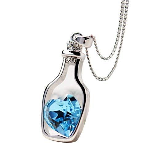Duqhan  Pendant Necklace in Love Drift Bottle Heart Crystal Style for Ladies Necklace Pendant for Womens  Blue
