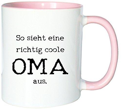 Mister Merchandise Kaffeetasse Becher So Sieht eine richtig Coole Oma aus Omi Großmutter, Farbe: Weiß-Rosa