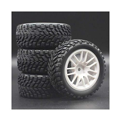 V-MAXZONE Nuevo 4 unids/Lote 1/16 Rally Tire Buggy Off-Road Ruedas Neumáticos Diámetro 75 mm Ancho 26 mm para Coche RC para HSP 94123 Repuestos Accesorios (Color : White)