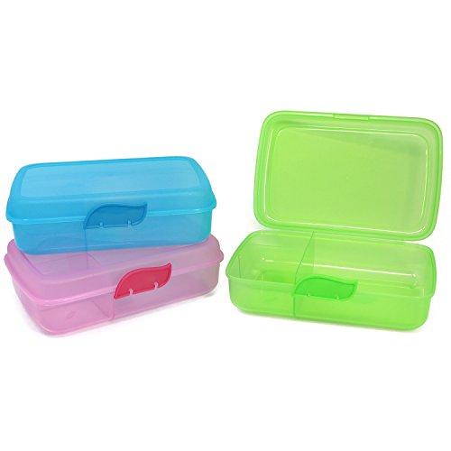 com-four® 3x Brotdose für unterwegs - Lunch-Box mit Trennwänden - Vorratsdose in verschiedenen Farben