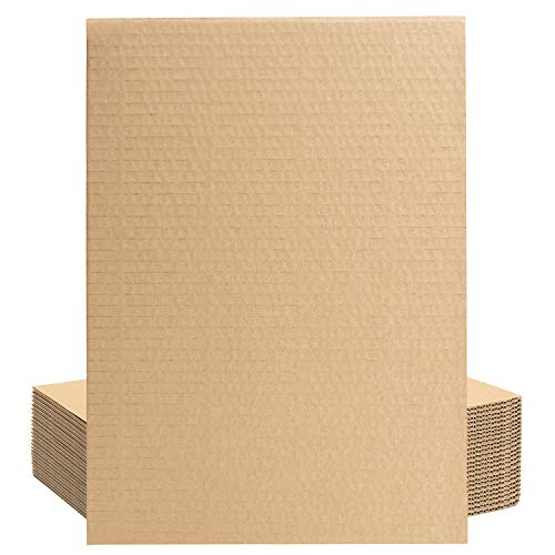 Belle Vous Hojas de Carton Corrugado Marrón A4 (Pack de 24) Papel Corrugado 3 mm de Grosor para Envíos, Paquetes - Papel Ondulado Manualidades