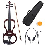 Cecilio CEVN-1NA Style 1 Silent Electric Solid Wood Violin with Ebony Fittings in Metallic Red Mahogany, Size 4/4 (Full Size)