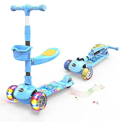 XJMPYGR 3-In-1 Children'S Music Scooter,Kick Scooter With Led Flashing Light Up Wheels, Removable Seat & Adjustable Handlebar, Suitable For Children Aged 2-10,Blue,5CM Hummer Wheel